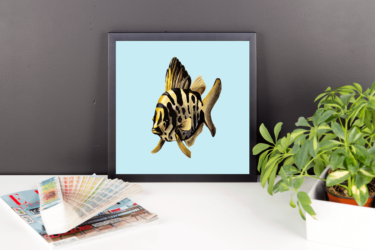 Deyana Deco - YELLOW FISH Framed Poster 12x12