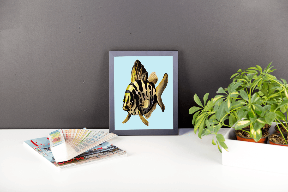 Deyana Deco - YELLOW FISH Framed Poster 8x10